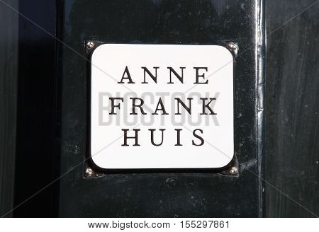 AMSTERDAM, NETHERLANDS - MAY 3, 2016: Anne Frank House on Prinsengracht 263 - biographical museum dedicated to Jewish wartime diarist Anne Frank, Amsterdam, Netherlands.