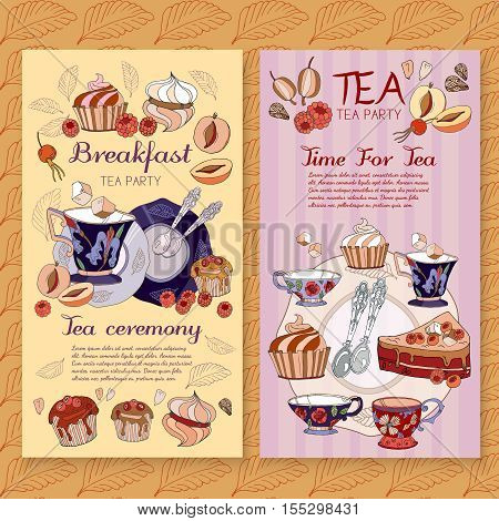 Tea menu design package time for tea and teapot tea sweet pastries vector cafe menu tea template vector
