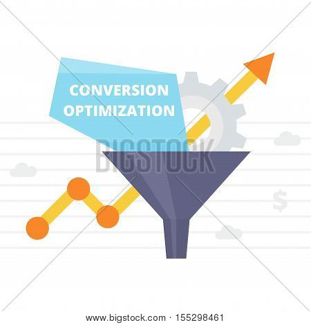 Conversion Optimization - vector illustration. Internet marketing conversion concept with Sales Funnel and growth chart. Conversion rate optimization banner in flat style.