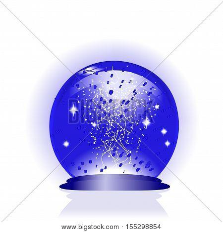 Vector blue glass globe on white background - illustration