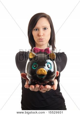 Young Woman Piggy Bank Presenting Closeup