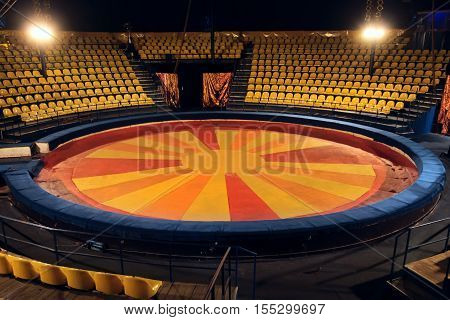 Interior circus. The arena and chairs for visitors in circus