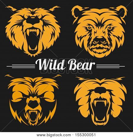 Vintage bear faces mascot emblem symbols. Can be used for T-shirts print, labels, badges, stickers, logotypes vector illustration.