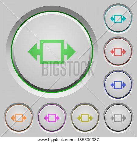Width tool color icons on sunk push buttons