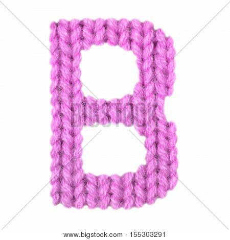 Letter B alphabet on a blurry texture knitted pattern of woolen thread closeup. One letter of the English alphabet. Education and holidays. Typography design. Color pink