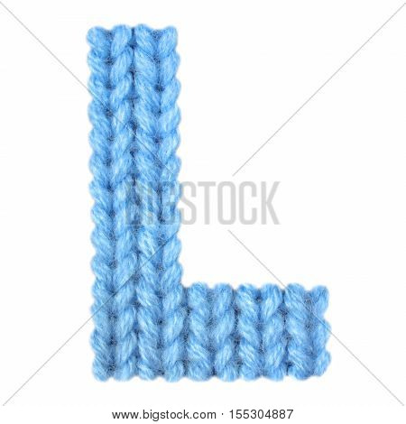 Letter L alphabet on a blurry texture knitted pattern of woolen thread closeup. One letter of the English alphabet. Education and holidays. Typography design. Color blue