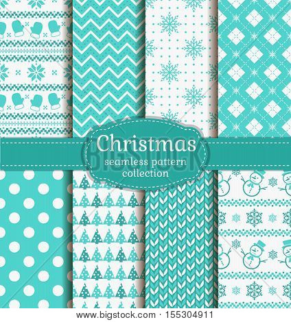 Merry Christmas and Happy New Year! Winter holidays seamless backgrounds set with mittens christmas tree snowflakes snowman knitting Norwegian ornament and abstract patterns. Vector collection.