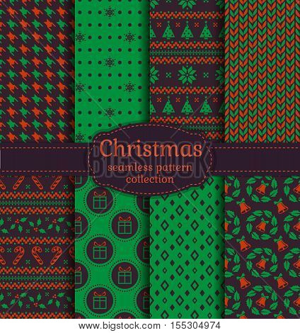 Merry Christmas and Happy New Year! Seamless backgrounds set with bells snowflakes christmas tree holly candy cane gifts knitting Norwegian ornament and abstract patterns. Vector collection.