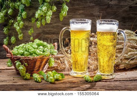 Cold beer surrounded by hops cones on old wooden table