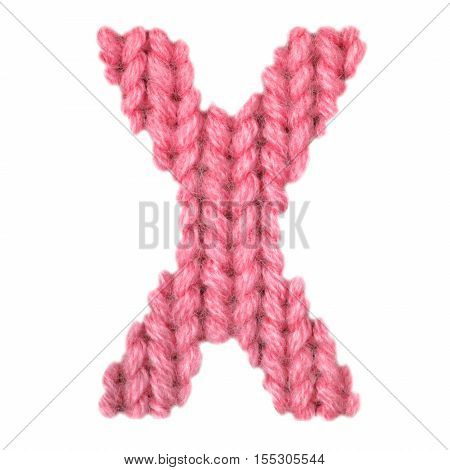 Letter X alphabet on a blurry texture knitted pattern of woolen thread closeup. One letter of the English alphabet. Education and holidays. Typography design. Color red