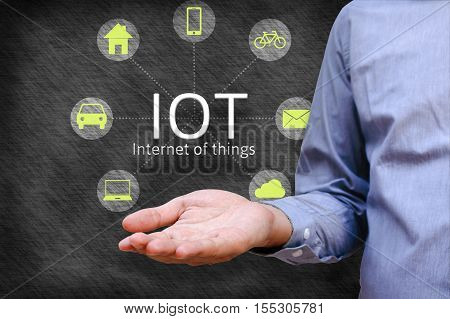 Internet of things (IoT) concept. Man show iot link network and symbol connected with icons