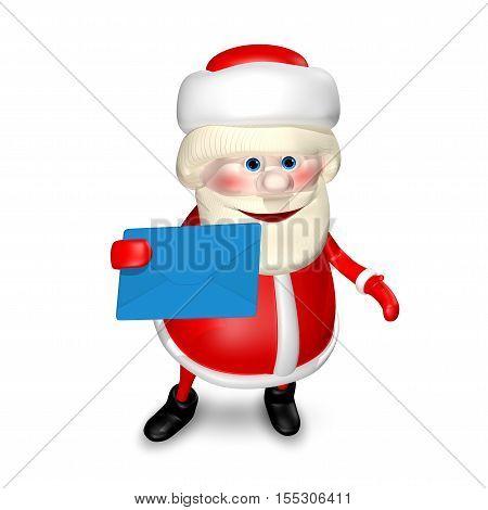 3D Illustration of Santa Claus with Blue Envelope