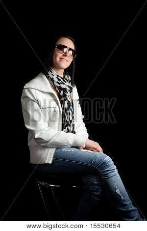 Young Woman Sitting Sunglasses