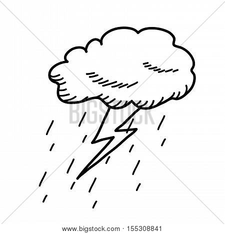 Thunderstorm Cloud Doodle Drawing. A hand drawn vector cartoon illustration of a cloud thunder with rain.