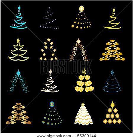 Vector Christmas trees on black background - illustration