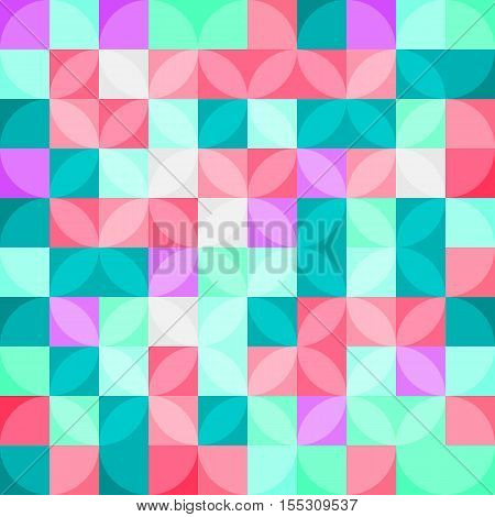Seamless vector pattern with circles and squares. Abstract pastel delicate background wrapper for packaging.