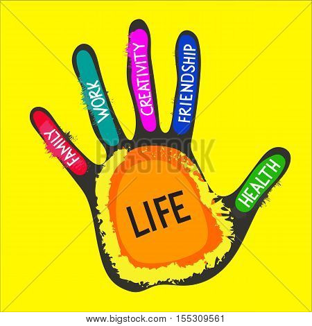 Targets of life. Vector hand lettering on fingers - work family friendship health creativity life. Concept of life balance choice harmony