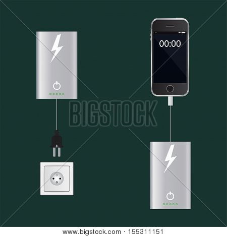 Portable battery with smartphone and socket on the green background