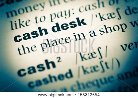 Close Up Of Old English Dictionary Page With Word Cash Desk