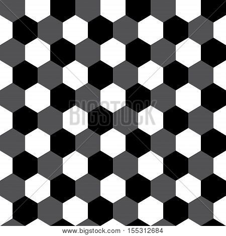 Black and white hexagon geometric seamless pattern, vector background