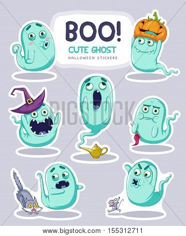 Sticker set of cute cartoon ghosts with different facial expressions. Vector Illustration