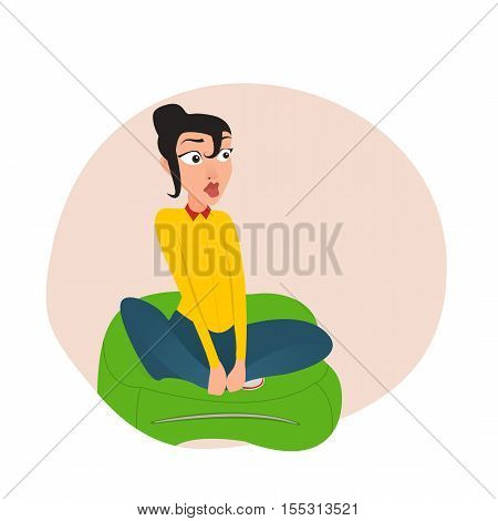 Girl sitting in the Kremlin bag. EPS 10. vector. cartoon
