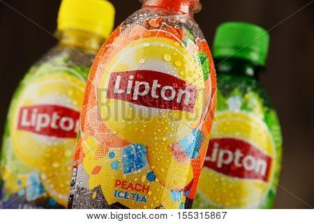 POZNAN POLAND - NOV 4 2016: Lipton Ice Tea is a soft drink brand sold by Lipton belonging to Unilever a British-Dutch multinational consumer goods company.