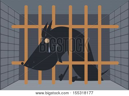 Sad dog in a cage. Crying dog seats behind bars