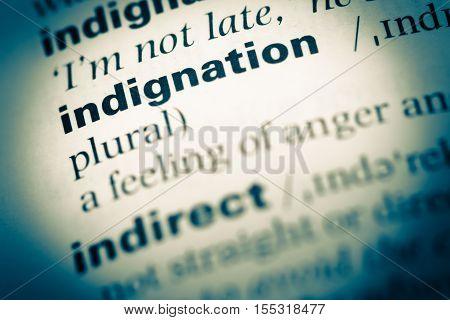 Close Up Of Old English Dictionary Page With Word Indignation
