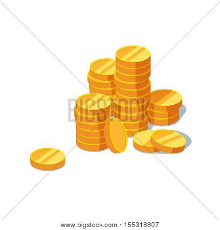 Stack of gold coins on a white background. Vector illustration of gold coins icon in flat style isolated. Concept of success and finance