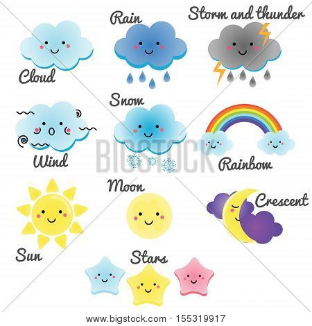 Cute weather and sky elements. Kawaii moon sun rain and clouds vector illustration for kids isolated design elements for children. Stickers labels of positive characters icons infographics for kids