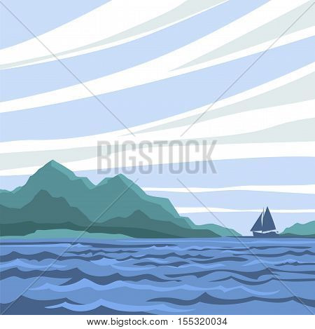 Seascape with a silhouette of a sailboat on the horizon.