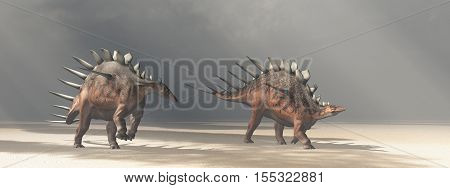 Computer generated 3D illustration with the dinosaur Kentrosaurus in the desert