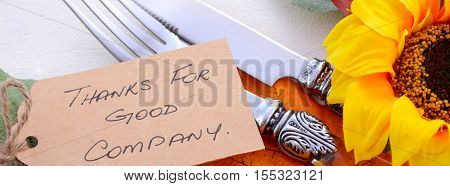Thanksgiving Place Setting Close Up Social Media Banner