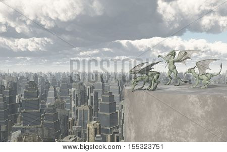 Computer generated 3D illustration with Gargoyles over a big city