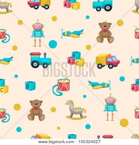 Pattern with kids toys objects and elements such as teddybear robot horse plane drum and blocks vector illustration