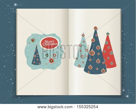 Christmas illustrations in moleskin. scrapbook elements for christmas.