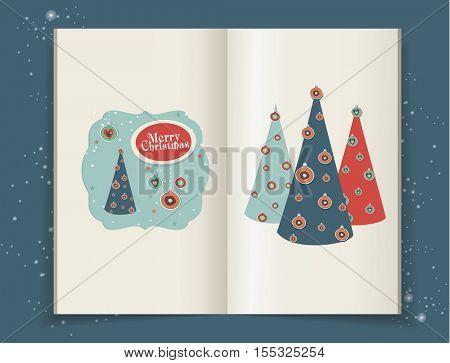 Christmas illustrations in moleskin. scrapbook elements for christmas.