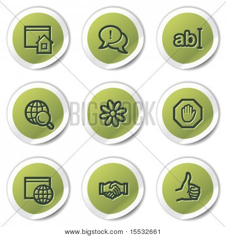 Internet web icons set 1, green circle stickers