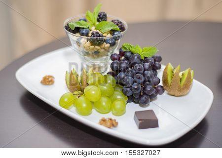 Fruity, Nutty Breakfast In A Five Star Hotel Room.