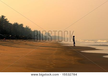 Lone Woman Watching The Sea