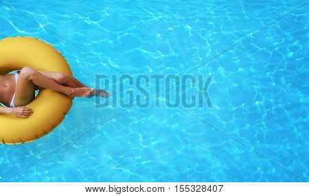 Summer fun by the pool. Copy space