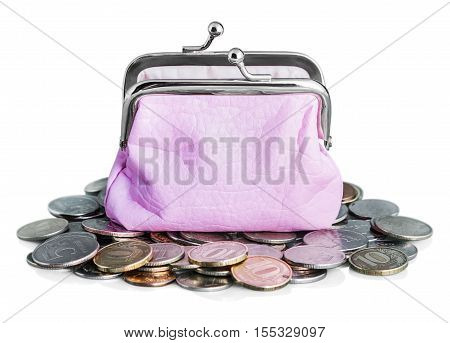 pink purse and coins ruble isolated on white background