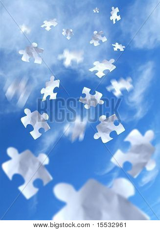 Falling puzzle pieces from the sky.