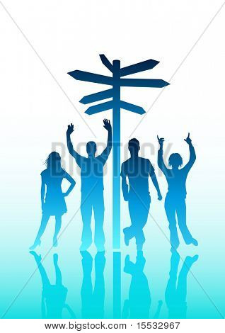 Illustration of young people standing next to a sign post