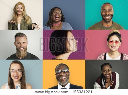 Diverse Group People Photo Collage Concept