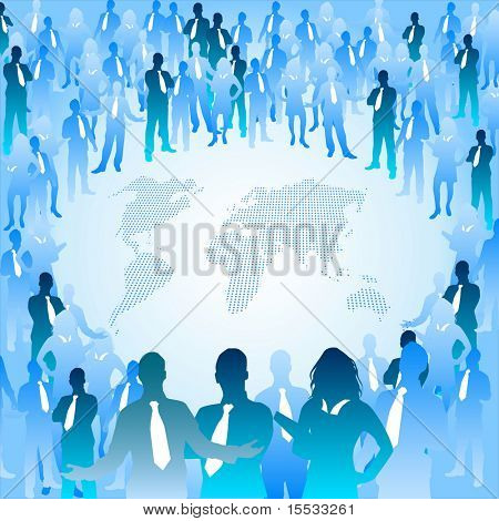 A huge crowd of people surrounding the world