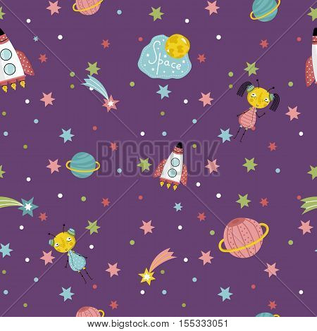 Space interstellar travels cartoon seamless pattern. Flying spaceship, cute alien girls with pigtails, colorful stars, comets, Saturn and earth planets vector illustrations on dark violet background poster