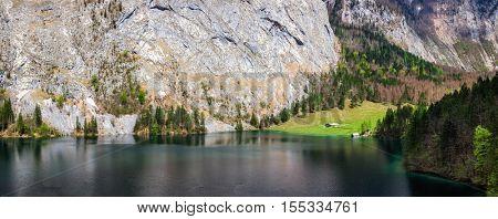 Panorama of mountain lake Obersee in German Alps. Bavaria, Germany