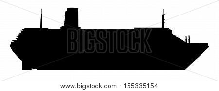 Computer generated 2D illustration with the silhouette of a cruise ship